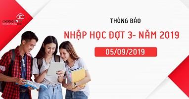 Thông báo nhập học đợt 3 – Năm 2019